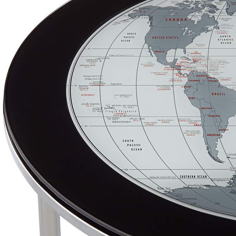 "World Map 23 1/4"" Chrome and Glass 2-Piece Nesting Tables more views"