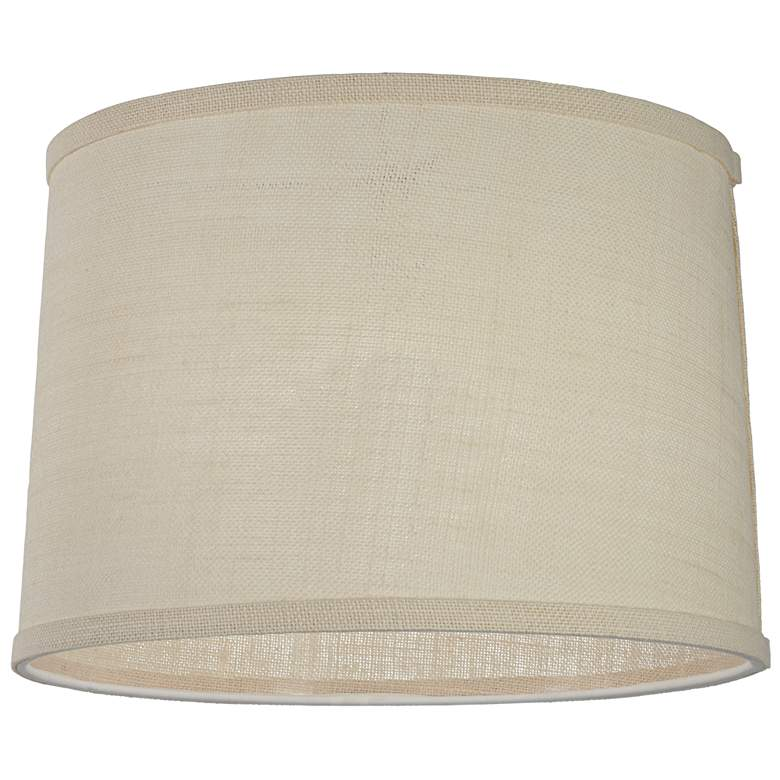 Off-white Burlap Drum Lamp Shade 13x14x10 (Spider) more views