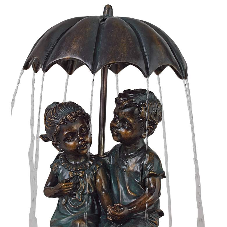 "Boy and Girl Under Umbrella 40"" High Indoor/Outdoor Fountain more views"