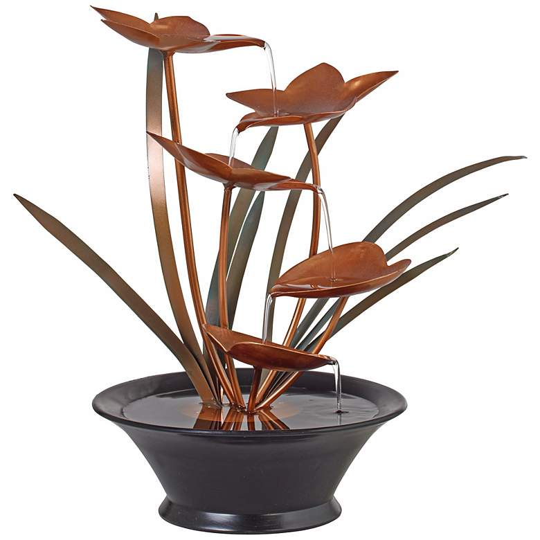 "Bloomfield Copper Flower 13"" High Tabletop Fountain more views"