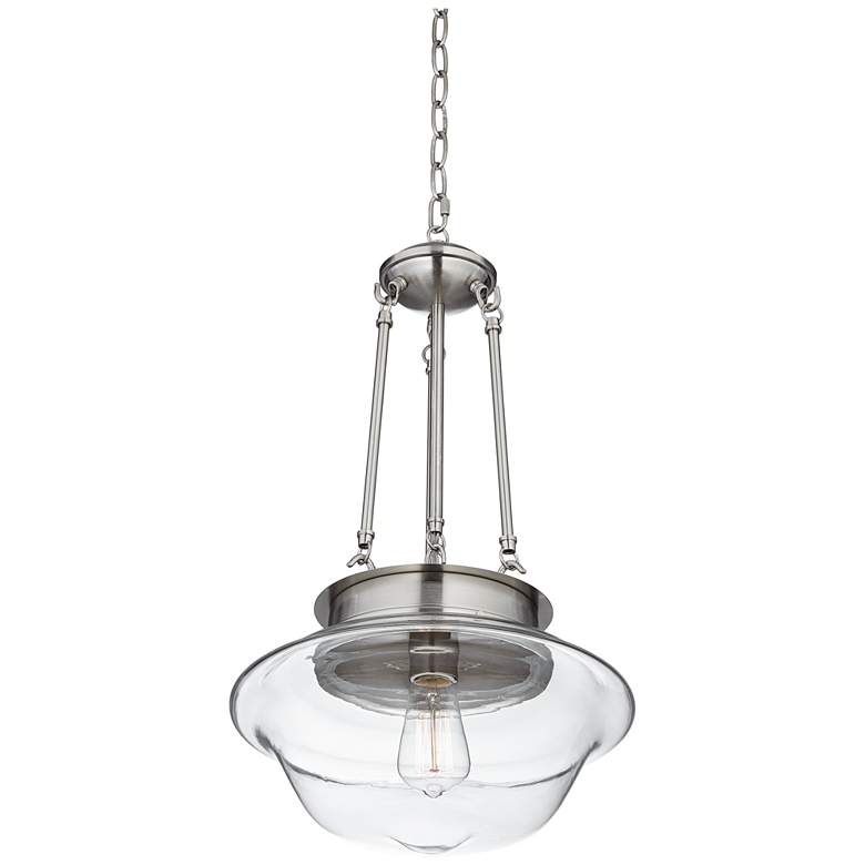 "Possini Euro Schoolhouse 13""W Brushed Nickel LED Pendant more views"
