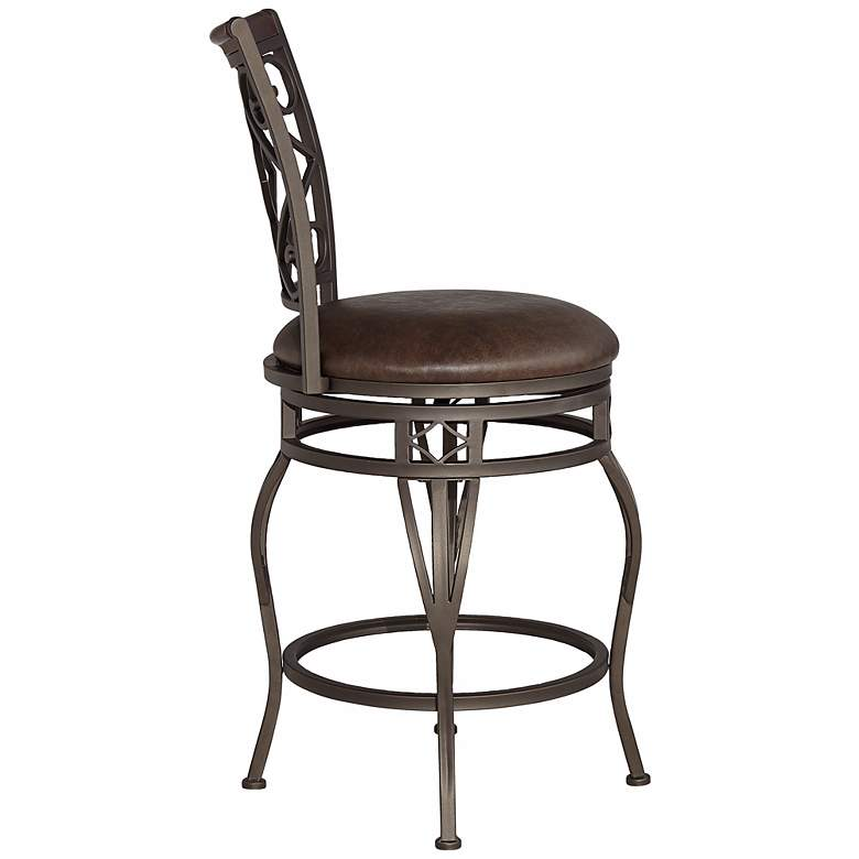 Enjoyable Hartley 25 Wood And Bronze Metal Swivel Counter Stool Gmtry Best Dining Table And Chair Ideas Images Gmtryco