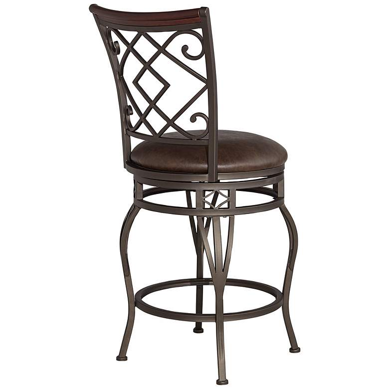 "Hartley 25"" Wood and Bronze Metal Swivel Counter Stool more views"