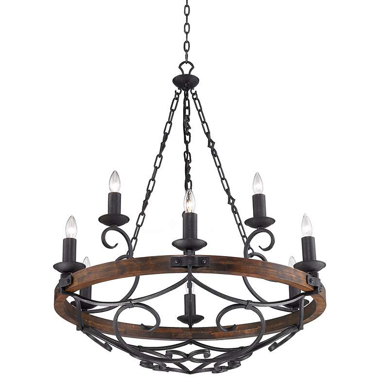 "Madera 34 1/2"" Wide Black Iron Hand-Forged Chandelier more views"