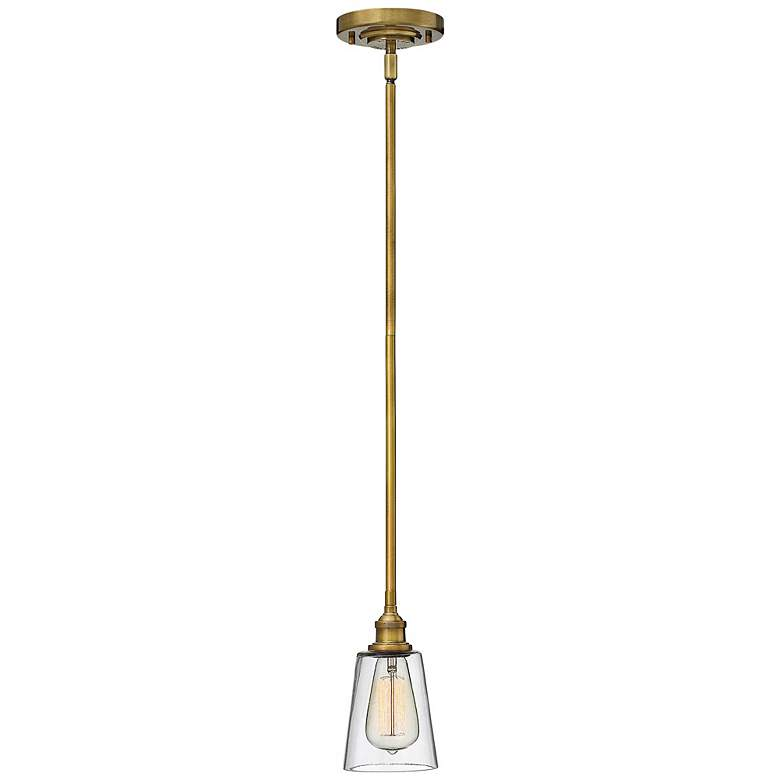 "Hinkley Gatsby 4 1/2"" Wide Heritage Brass Mini Pendant more views"