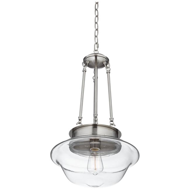 "Possini Euro Schoolhouse 13"" Wide Brushed Nickel LED Pendant"