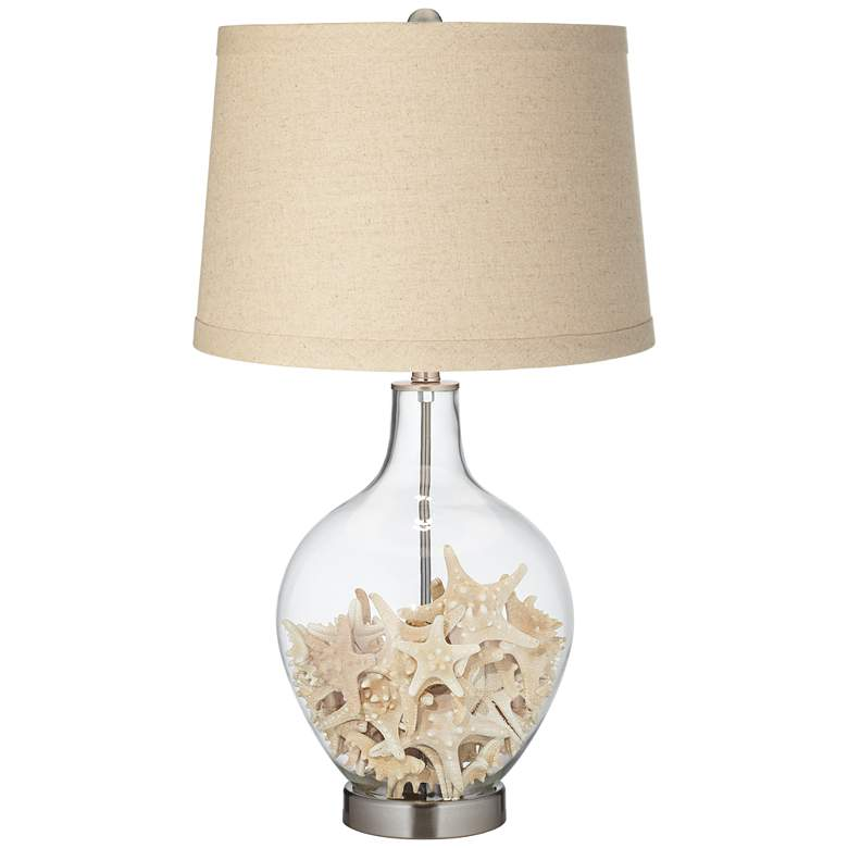 Clear Glass Fillable Burlap Drum Shade Ovo Table Lamp more views
