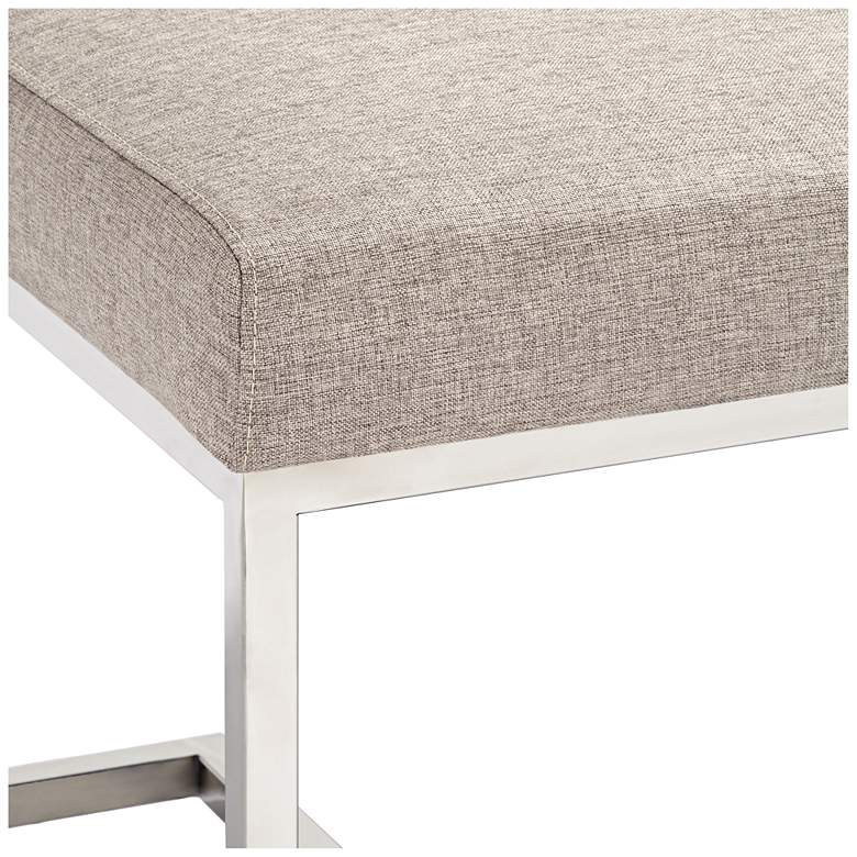 Hugo Gray-Beige Cushioned Rectangular Bench more views