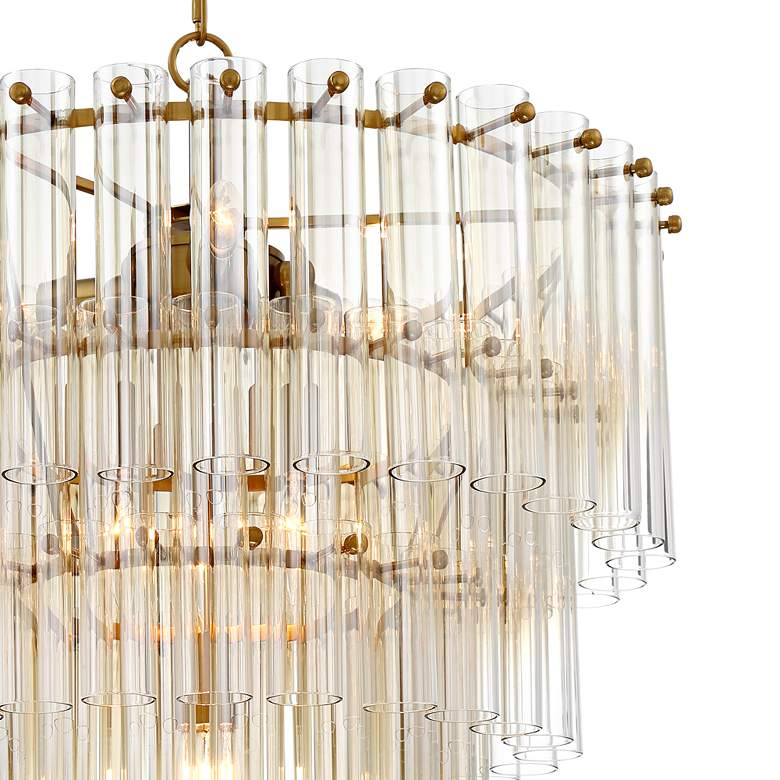 "Agatha 20 1/2"" Wide Antique Gold and Glass Pendant Light more views"