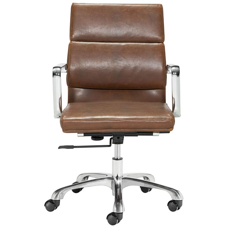 Ithaca Vintage Brown Faux Leather Adjustable Office Chair more views