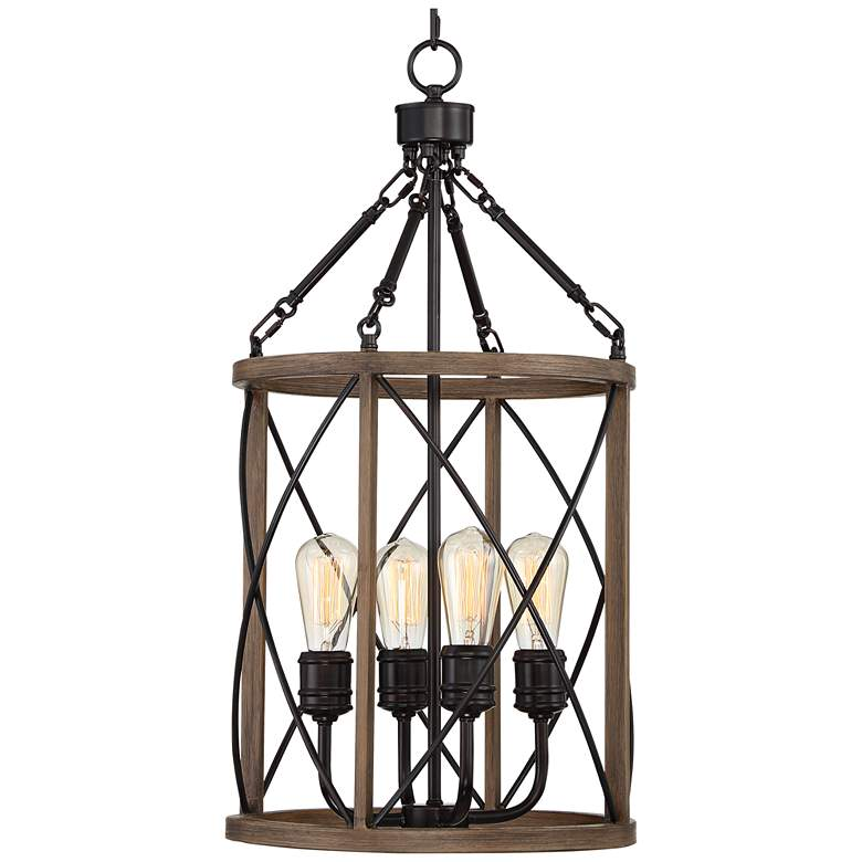 "Hansen 14""W Bronze and Woodgrain 4-Light LED Entry Pendant more views"