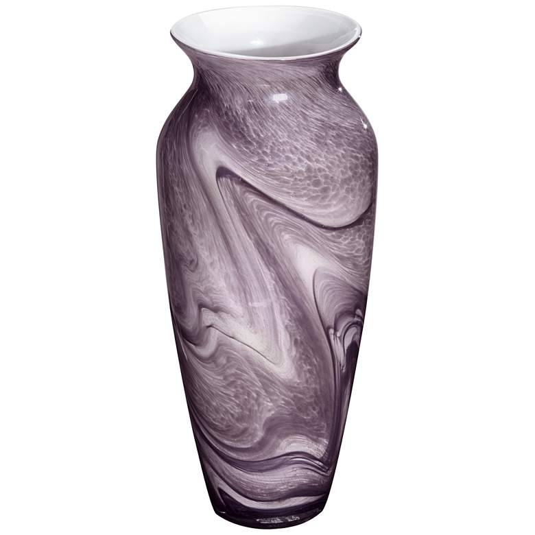 "Barton Purple Swirl 14 1/2"" High Large Glass Vase more views"
