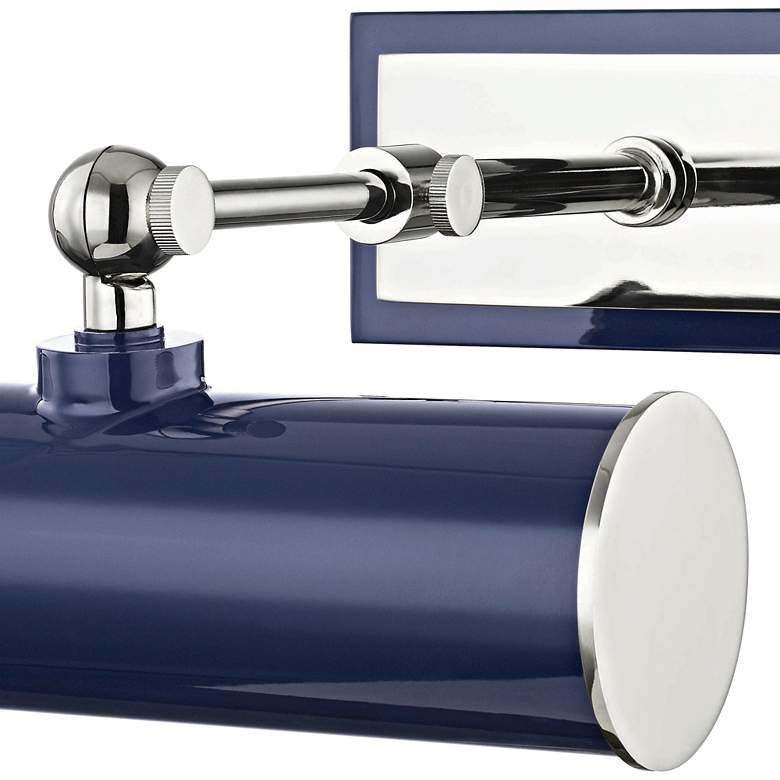 "Mitzi Holly 8 1/4""W Polished Nickel and Navy Picture Light more views"