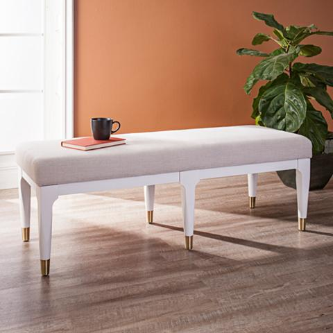 Damari Linen White Fabric Rectangular Bench