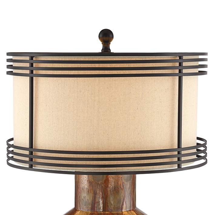 Arthur Copper Ceramic Double Shade Table Lamp 55t03 Lamps Plus