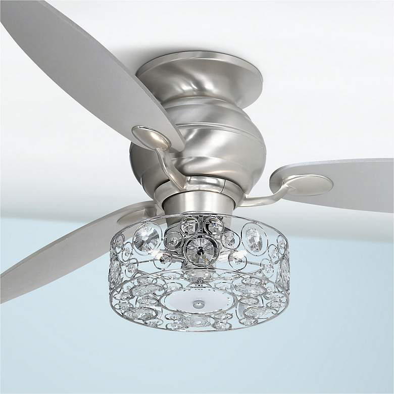 Possini Euro Crystal Circles Drum Led Ceiling Fan Light