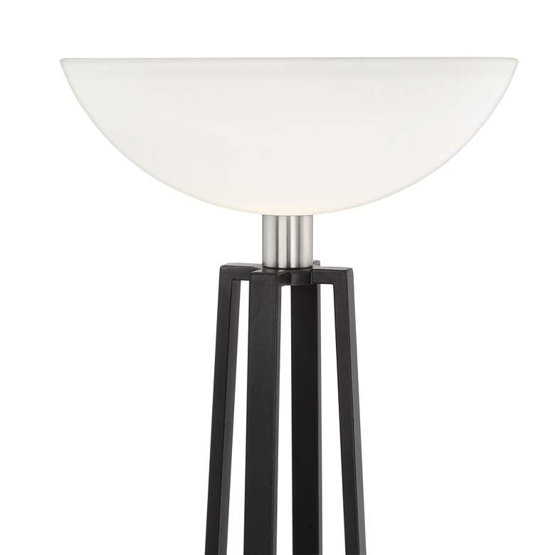 Huston Gun Metal and Brushed Nickel Torchiere Floor Lamp more views