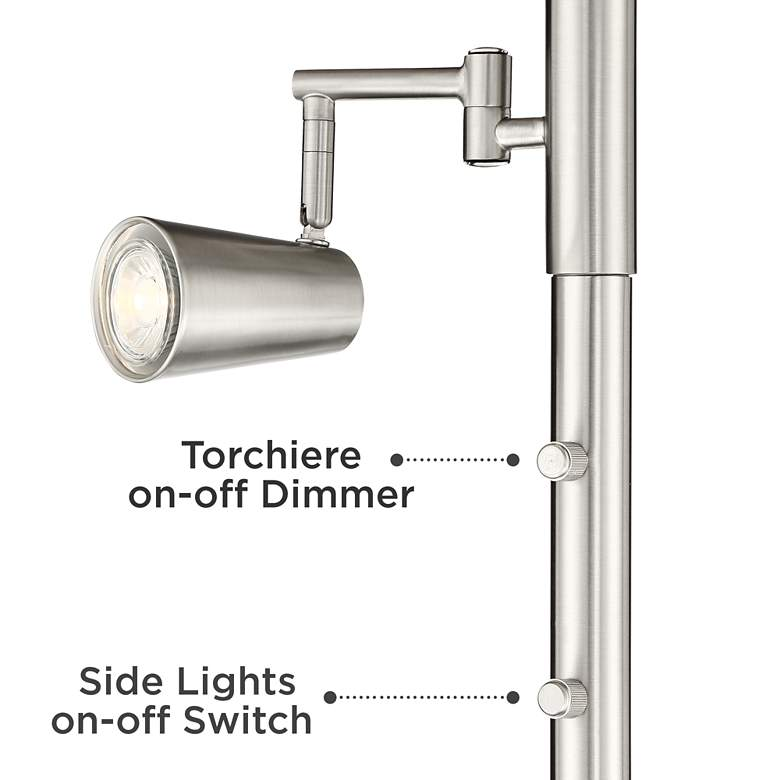 Yarrow Light Blaster™ LED Torchiere Lamp with Reading Arms more views