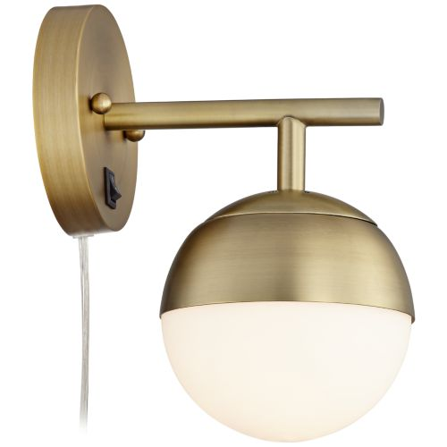 Luna Antique Brass Globe Pin-Up Wall Lamp