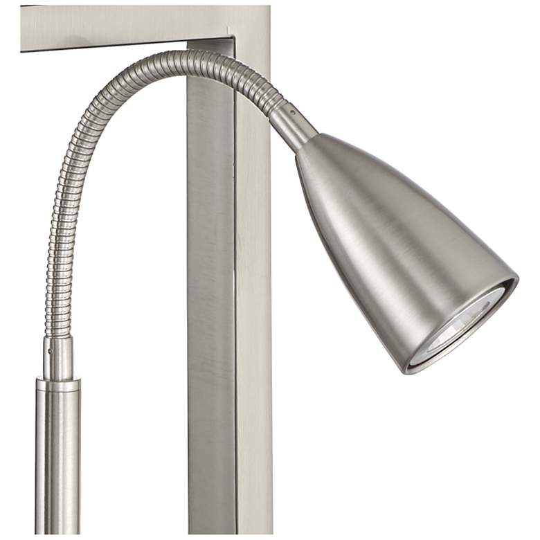 Nevel Brushed Nickel Gooseneck LED with USB Port and Outlet more views