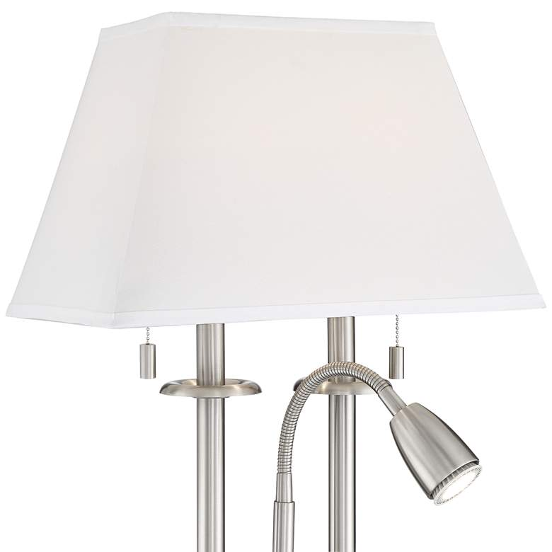 Dexter Nickel Finish Desk Lamp with USB Port and Outlets more views