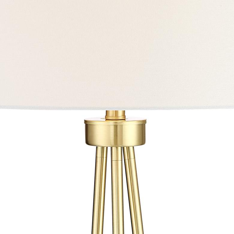 Saxony Brushed Brass Tripod Floor Lamp more views