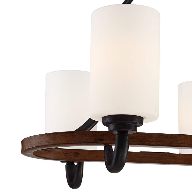 "Jackson 30""W Bronze and Brown Wood 6-Light Island Chandelier more views"