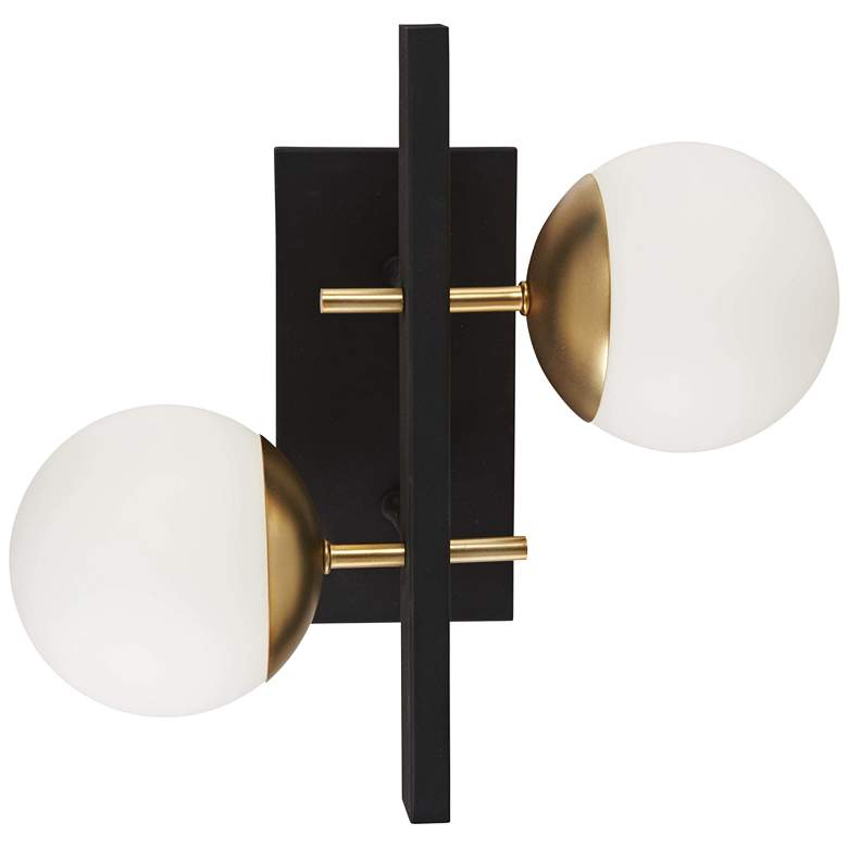 "Alluria 15 1/4"" High Black and Gold 2-Light Wall Sconce more views"