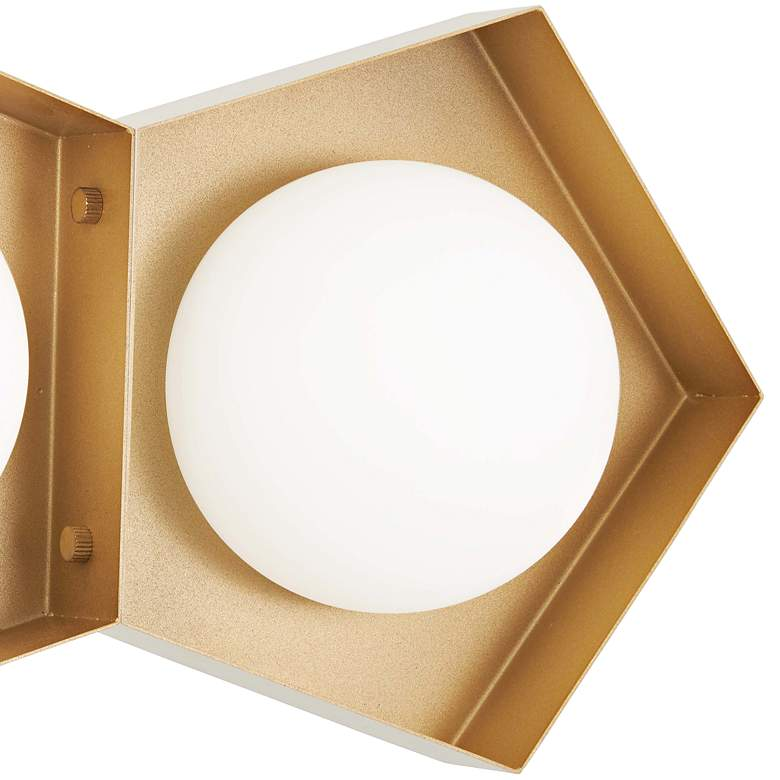 "Five-O 13 1/4""H White and Gold Leaf 2-Light LED Wall Sconce more views"