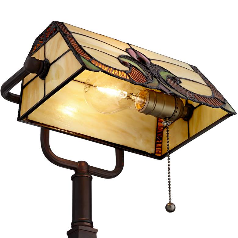 Robert Louis Tiffany Fleura Bronze Tiffany-Style Desk Lamp with Outlet more views