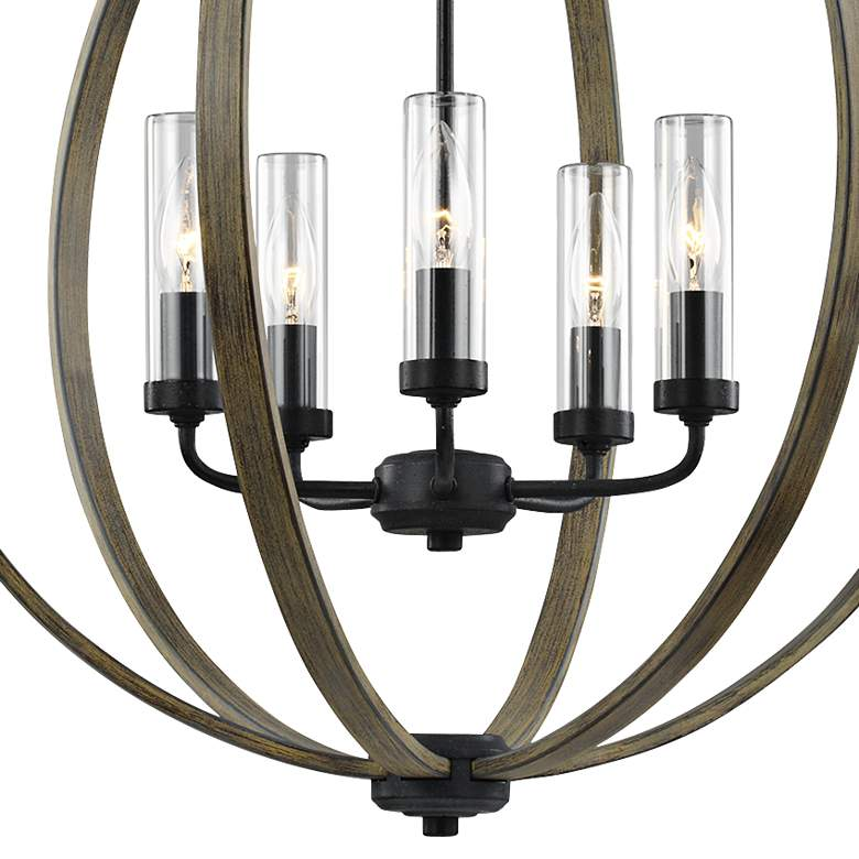 "Allier 28"" High Wood-Iron Outdoor Hanging Chandelier Light more views"