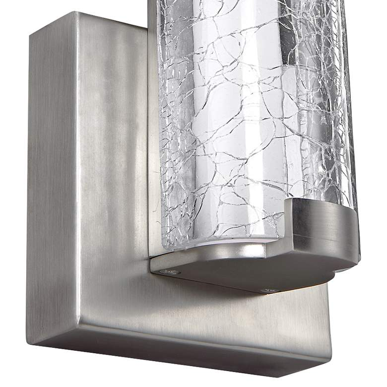 "Cutler 13 1/2""H Satin Nickel and Crackle Glass LED Sconce more views"