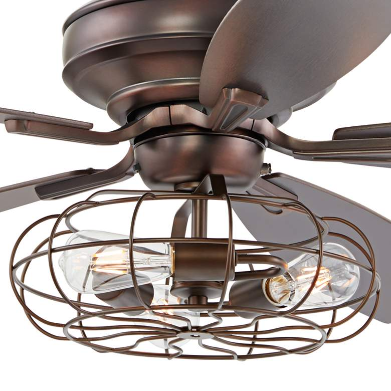 "52"" Oil Brushed Bronze Ceiling Fan W/ Cage LED Light Kit more views"