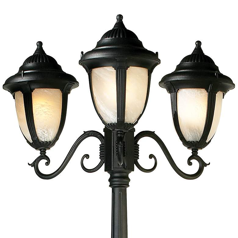 "Casa Sorrento Black Finish 90 1/2""H 3-Light Post Light more views"