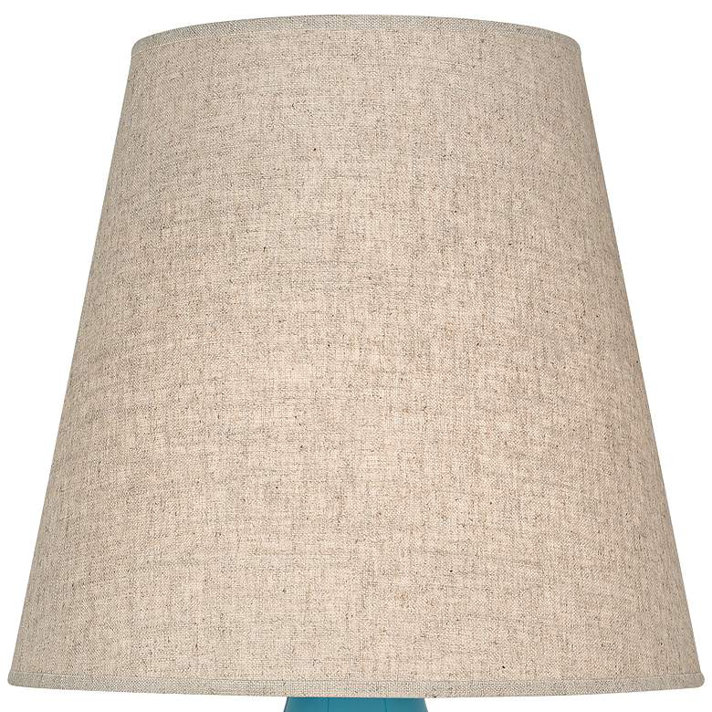 Robert Abbey June Peacock Table Lamp with Buff Linen Shade more views