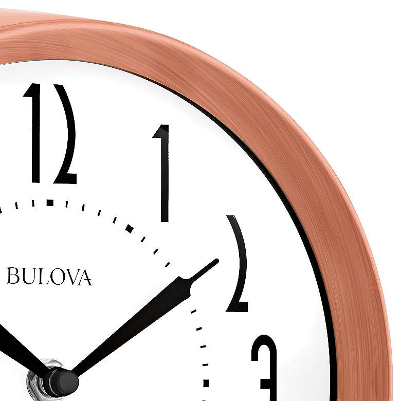"Bulova Cleaver Brushed Copper 8 1/4"" Round Wall Clock more views"