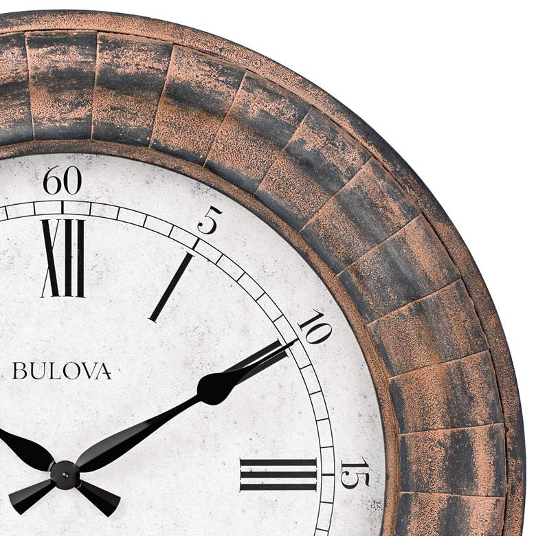 "Bulova Basset Weathered Metal 48"" Round Gallery Wall Clock more views"