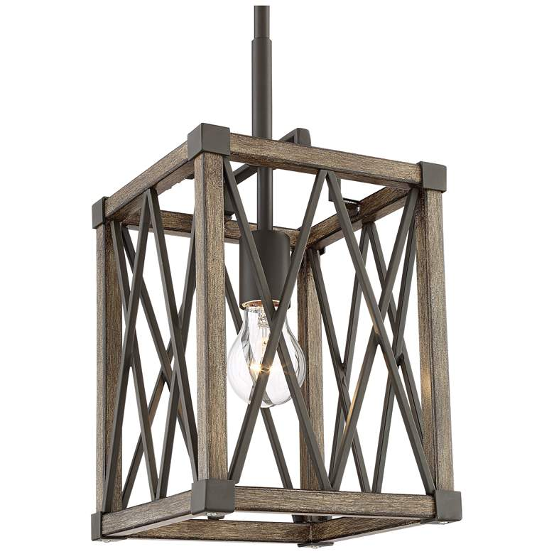 "Timothy 8"" Wide Bronze and Wood Mini Pendant Light more views"