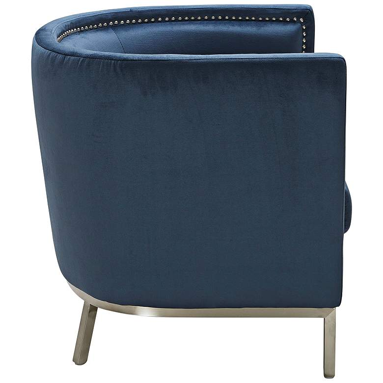 Wales Ink Blue Barrel Accent Armchair more views