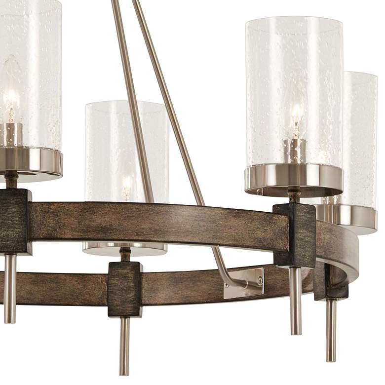 "Bridlewood 28"" Wide Stone Gray and Nickel 6-Light Chandelier more views"