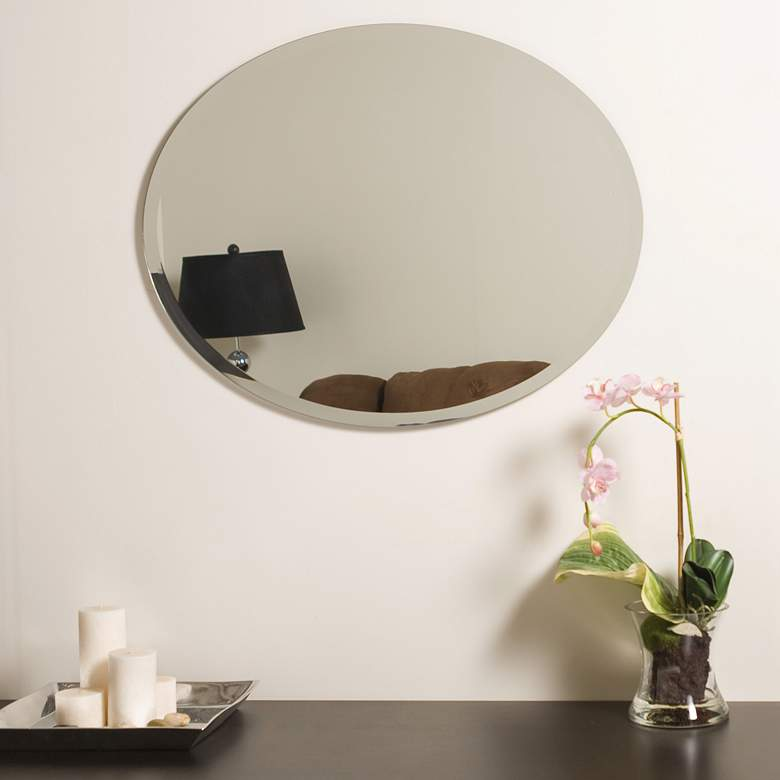 "Odelia 22"" x 28"" Oval Beveled Frameless Wall Mirror more views"