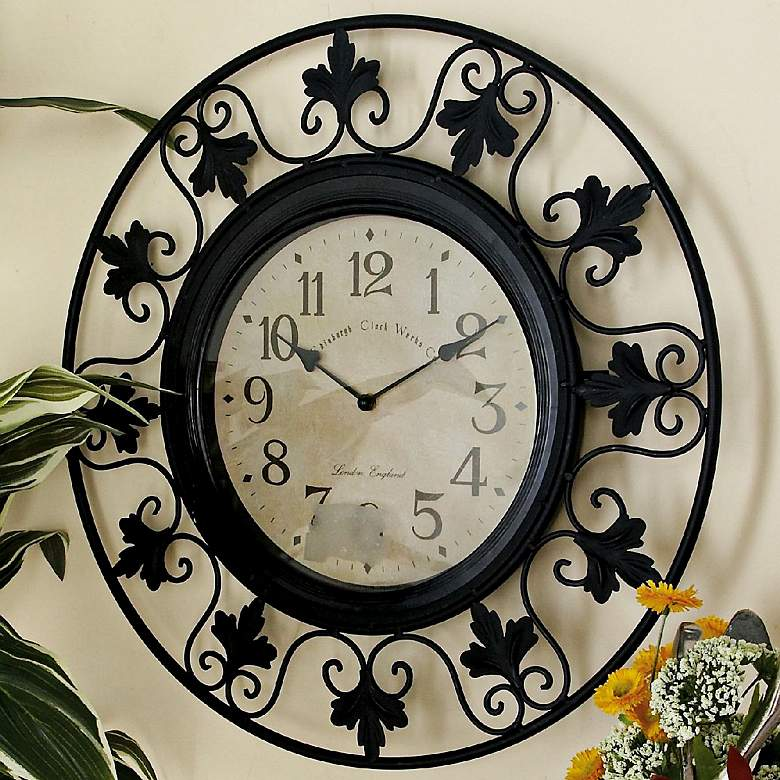 "Francine Black 23"" Round Outdoor Scroll Metal Wall Clock more views"