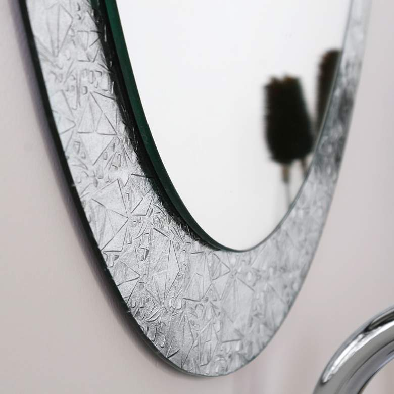 "Crystal 23 1/2"" x 31 1/2"" Oval Frameless Wall Mirror more views"