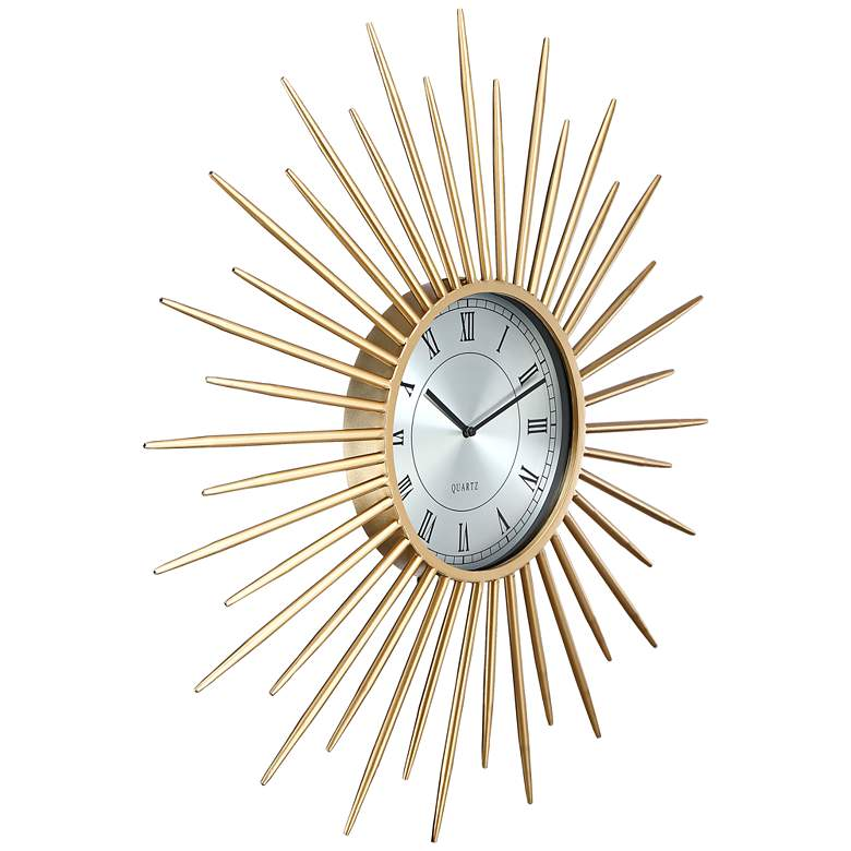 "Castallia Gold 28"" Round Metal Wall Clock more views"