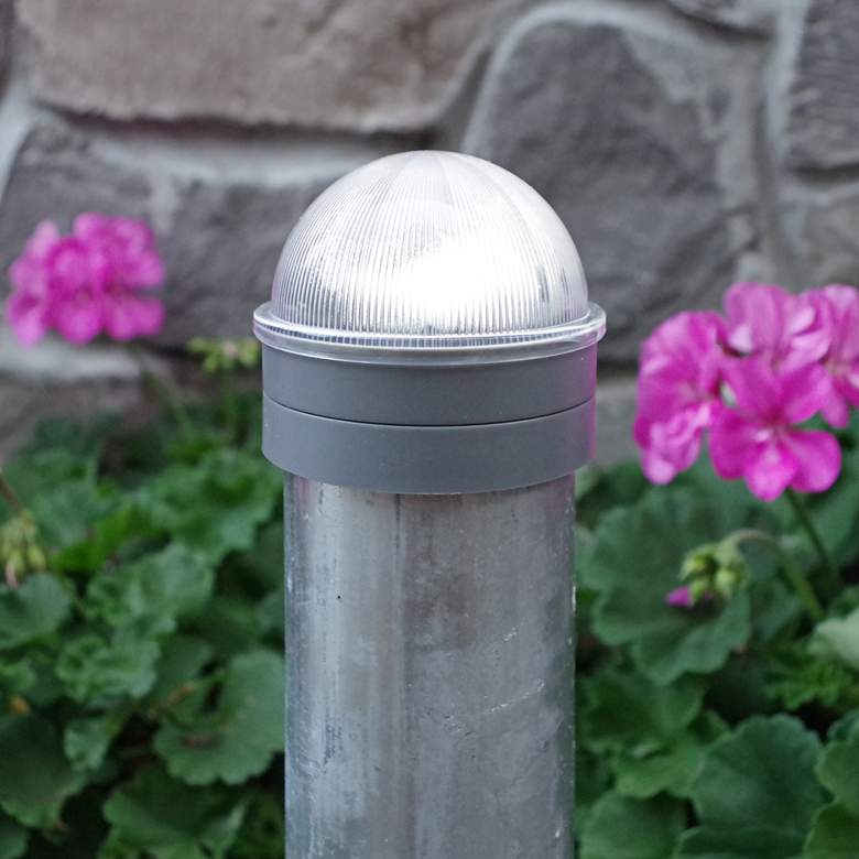 """Summit 2 1/2"""" High Silver Solar LED Outdoor Post Cap more views"""