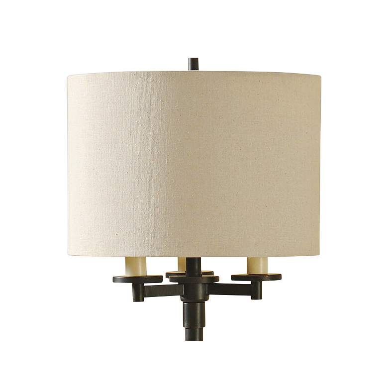 Madison Bronze Floor Lamp with Cream Hardback Fabric Shade more views