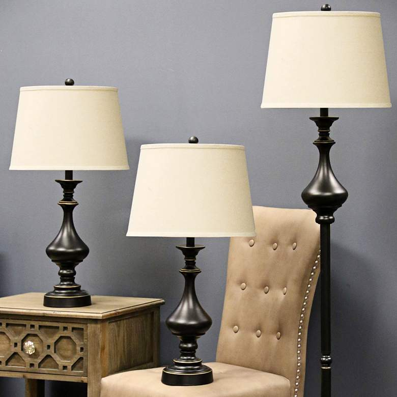 Madison White Shade Bronze 3-Piece Floor and Table Lamp Set more views