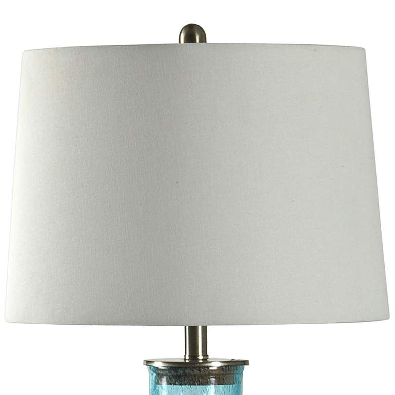 Montego Bay Blue Table Lamp with Off-White Fabric Shade more views