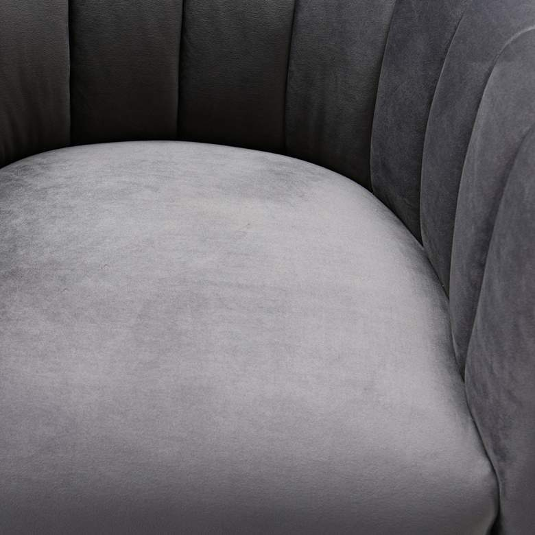 Magnolia Gray Velvet and Gold Armchair more views