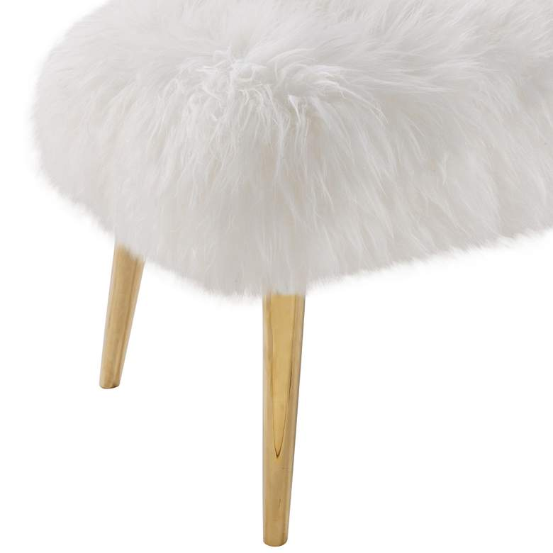 Fabulous Churra White Real Sheepskin Bench Squirreltailoven Fun Painted Chair Ideas Images Squirreltailovenorg